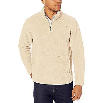أساسيات الرجال & apos;s شيربا الصوف ربع الرمز البريدي Pullover, قبالة الأبيض, X-Large
