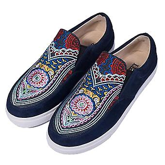 Nubuck Leather Casual Embroidered Shoes