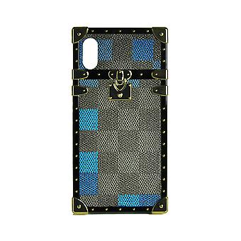 Phone Case Eye-Trunk Checkered Square For iPhone XS (Blue)