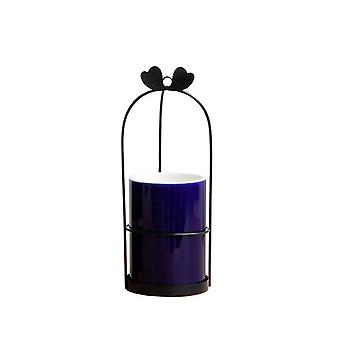 Ink-blue Ceramic Elegant Home Decorative Vase and Black Stand