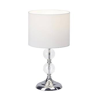 BRILLIANT Lamp Rom bordlampe krom / hvid | 1x A60, E27, 60W, egnet til normale lamper (ikke inkluderet) | Skaler A++