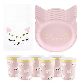 חבילת מסיבת יום הולדת לחתולים ל-6   צלחות ורודות, כוסות ומפיות