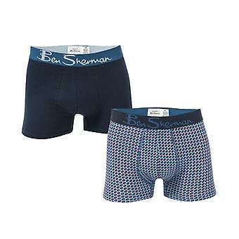Mænd's Ben Sherman Laz 2 Pack Boxer Shorts i blå