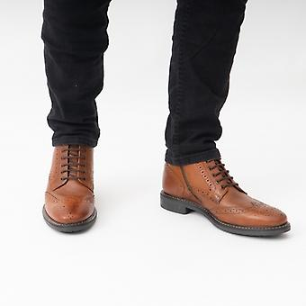 Base London Berkley Mens Leather Brogue Boots Tan