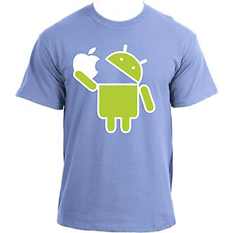 Android Robot Eats Apple Funny Google Droid Parody Humor Geek T-Shirt
