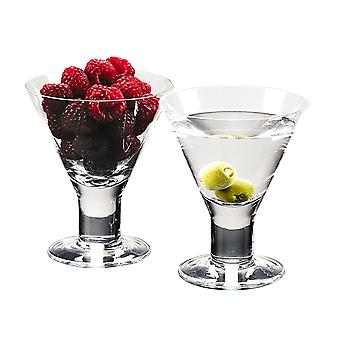 Mouth Blown Crystal Set of 4 Martini or Dessert Servers - 6 Oz