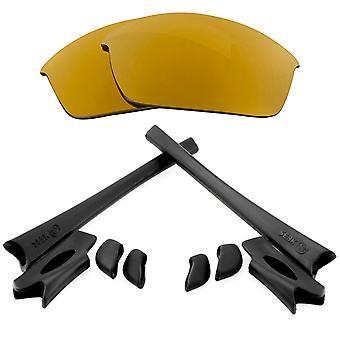 استبدال العدسات & كيت ل Oakley Flak سترة الذهب مرآة والأسود المضادة للخدش المضادة للوهج UV400 من قبل SeekOptics