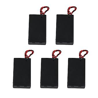 5 x AAA Wire Lead Battery Storage Case Holder with ON/Off Switch & Cover