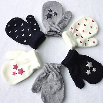 Cute Dot Star Heart Pattern Mittens Soft Knitting Warm Gloves