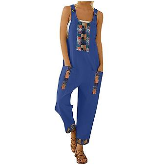 Kobiety Floral Daisy Print Jump Suit Casual, Boho Pocket Romper Long Playsuit,