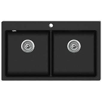 Granite sink double basin Black