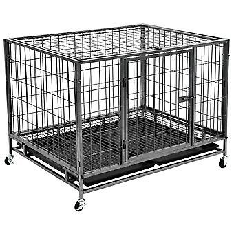 Schwerlast-Hundekäfig mit Rollen Stahl 98 × 77 × 72 cm