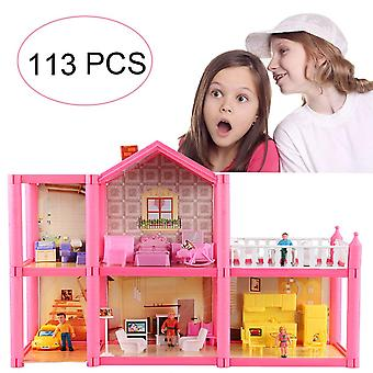 Kunen pequena casa de bonecas villa, casa de brinquedos dream girl com móveis e acessórios, casa upt