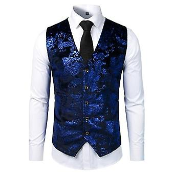 Suit Gilet Homme Wedding Sleeveless Slim Fit Paisley Floral Dress Vests