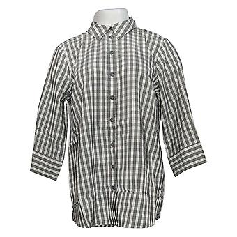 Joan Rivers Women's Top Perfect Gingham Shirt with 3/4-Sleeves Gray A352384