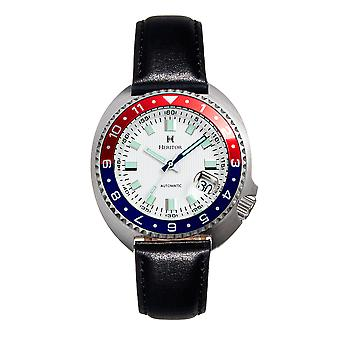 Heritor Automatic Pierce Genuine Leather-Band Watch w/Date - White/Red&Blue