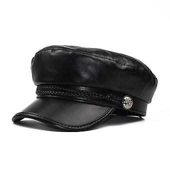 Femmes Fashion Black Pu Newsboy Flat Visor Caps, Military Octagonal Hat (noir