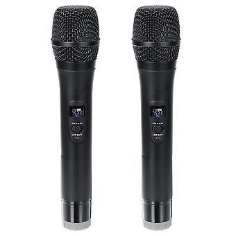 Professional UHF Double Langaton kädessä pidettävä karaokemikrofoni 3,5 mm:n vastaanottimella