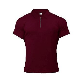 Man Polo Shirt, Casual Plain Short Sleeve, Slim Fitness