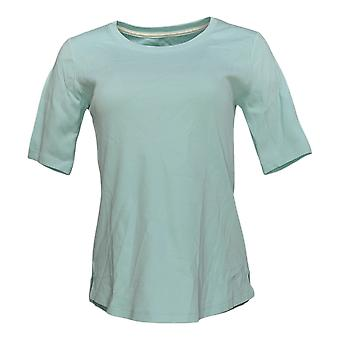 إسحاق مزراحي لايف! Women's Top XXS Essentials Shirttail Hem Green A392832