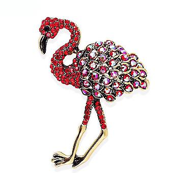 Ladies Brooch Red Flamingo Ostrich Corsage Enamel Painted Alloy Brooch Pin