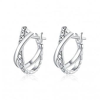 Sterling Silber Ohrringe Ledertextur - 7056