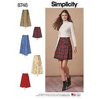 תבניות תפירה פשטות 8746 מתגעגע לעטוף חצאיות שני אורכים גודל 14-22
