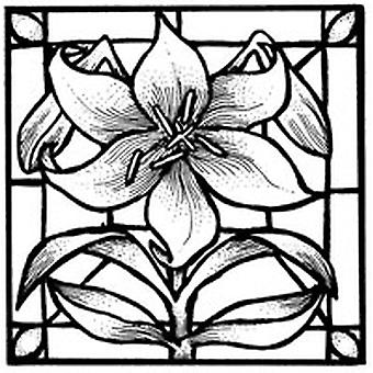 Lily Stained Glass Wood Mounted Stamp
