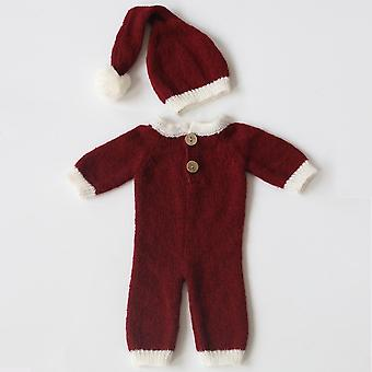 Newborn Photography Props Accessories - Soft Mohair Baby Christmas Hat+jumpsuit