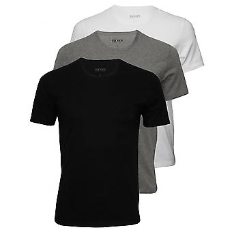 BOSS 3-Pack Regular-Fit Crew-Neck T-skjorter, Svart/Hvit/Grå