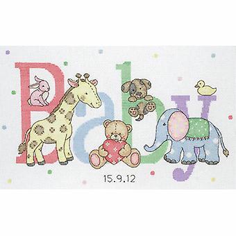 Kit de punto de cruz contada de ancla: Registro de nacimiento: Animales bebés