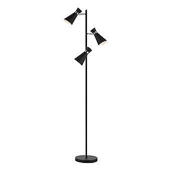 Vloerlamp Mat Zwart & Gepolijst Chroom, 3x E14