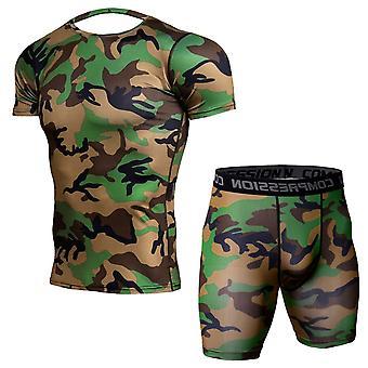 YANGFAN Men's 2 Pcs Αθλητικό κοστούμι κοντό μανίκι T shirt τοπ σορτς