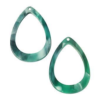 Zola Elements Acetate Pendant, Drop 22x31mm, 2 Pieces, Emerald Marbled