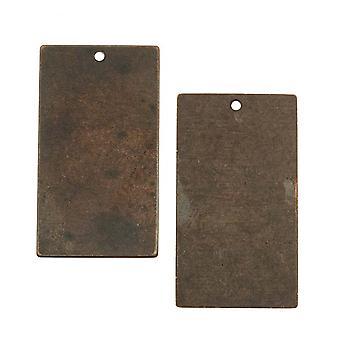 Vintaj Natural Brass Rustikt Förändrad Blank Rektangel Hängen 32mm (2)