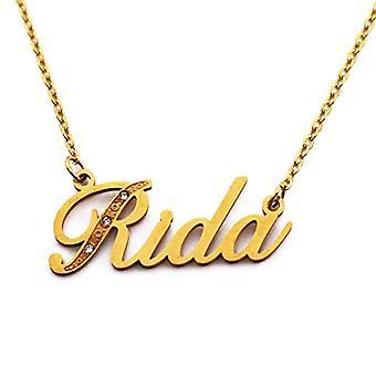 Kigu Rida - Anpassningsbart namnhalsband med guldpläterade stenar