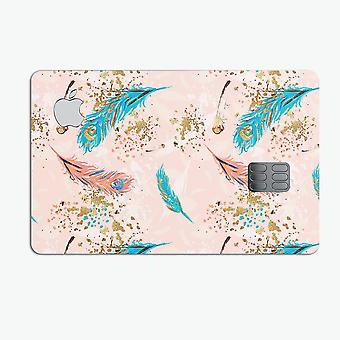 Teal And Croal Feathers Over Gold Strokes - Premium Protective Decal