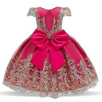90Cm rose rot Kinder formale Kleidung elegante Partei Pailletten Tutu Taufe Kleid Hochzeit Geburtstagskleider für Mädchen fa1793