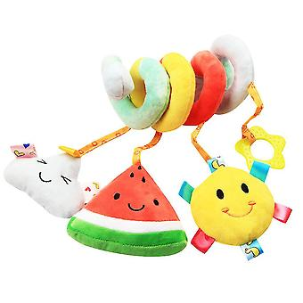 Watermelon Cartoon Pram Crib Toy With Bb Device Sound Paper Teether Bell Lovely Baby Spiral Toy Plush Activity Spiral