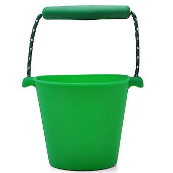 Portable Silicone Beach Sand Buckets Toy For Kids Camping Fishing Storage(Green)