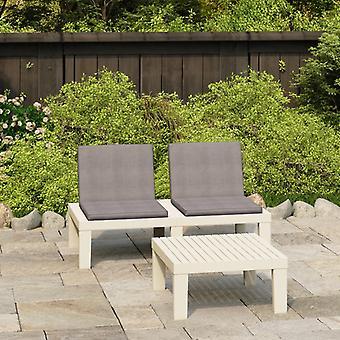 vidaXL 2 pezzi. Set lounge da giardino con pastiglie in plastica bianca
