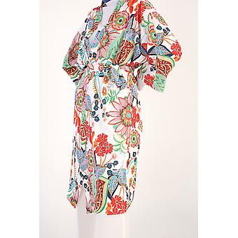 Batwing Sleeve Floral Self Belted Kimono