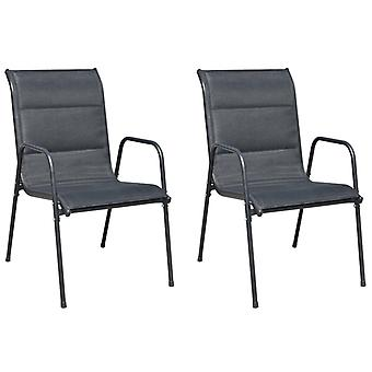 vidaXL Stackable Garden Chairs 2 Pcs. Steel and Textilene Black