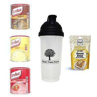Seven Trees Farm Kit con 5 productos | 1 x Choco, 1 x Banana, 1 x Strawberry Shakes, 1 x Shaker y 1 x Cake Mix Banana, ¡Sé flaco y saludable!