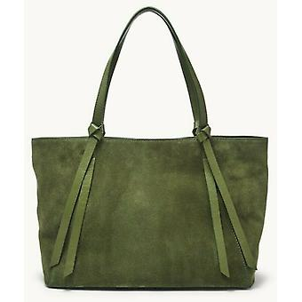 Fossil Rayana Chive Green Leather Suede Tote SHB2648350