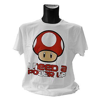 Super Mario Bros. Red Mushroom I Need a Power Up T-Shirt, männlich, extra groß, weiß