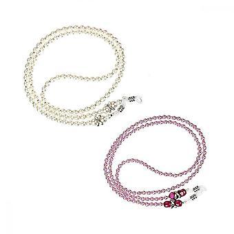 Alça de óculos de contas, 2 Pcs Handmade Sunglass Chain Rope (branco, rosa)