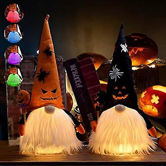 Likeny 2pcs Halloween Decorations,halloween Ornaments Decor For Home,gnome Plush Four Gradient Led Lights,14.2 Inch, For Kids/women/men/girlfriend/wif