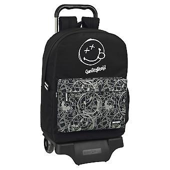 School Rucksack with Wheels Smiley Urban Flow Black