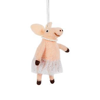Ballerina Felt Pig Christmas Decorations